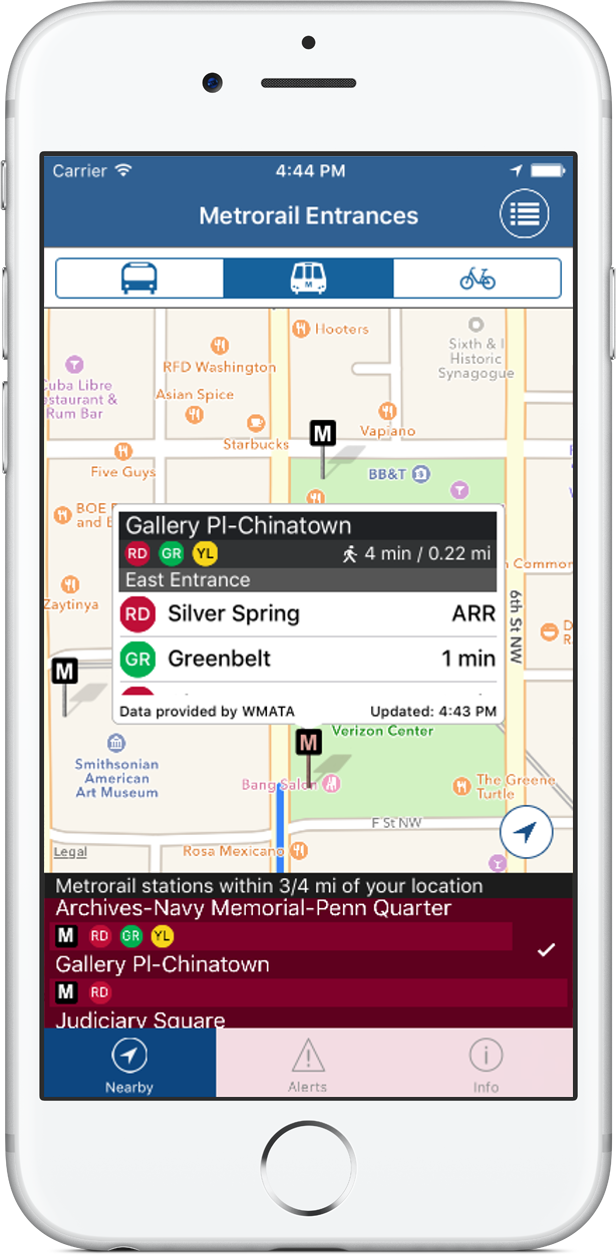 Location aware, realtime predictions, route maps, and alerts app for DC Metro, bus, Circulator, Streetcar, and Capital Bikeshare
